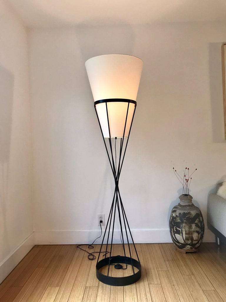 Mid-Century Modern  Architectural Iron Lamp, Midcentury For Sale