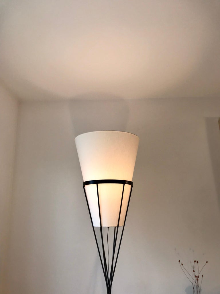 American  Architectural Iron Lamp, Midcentury For Sale