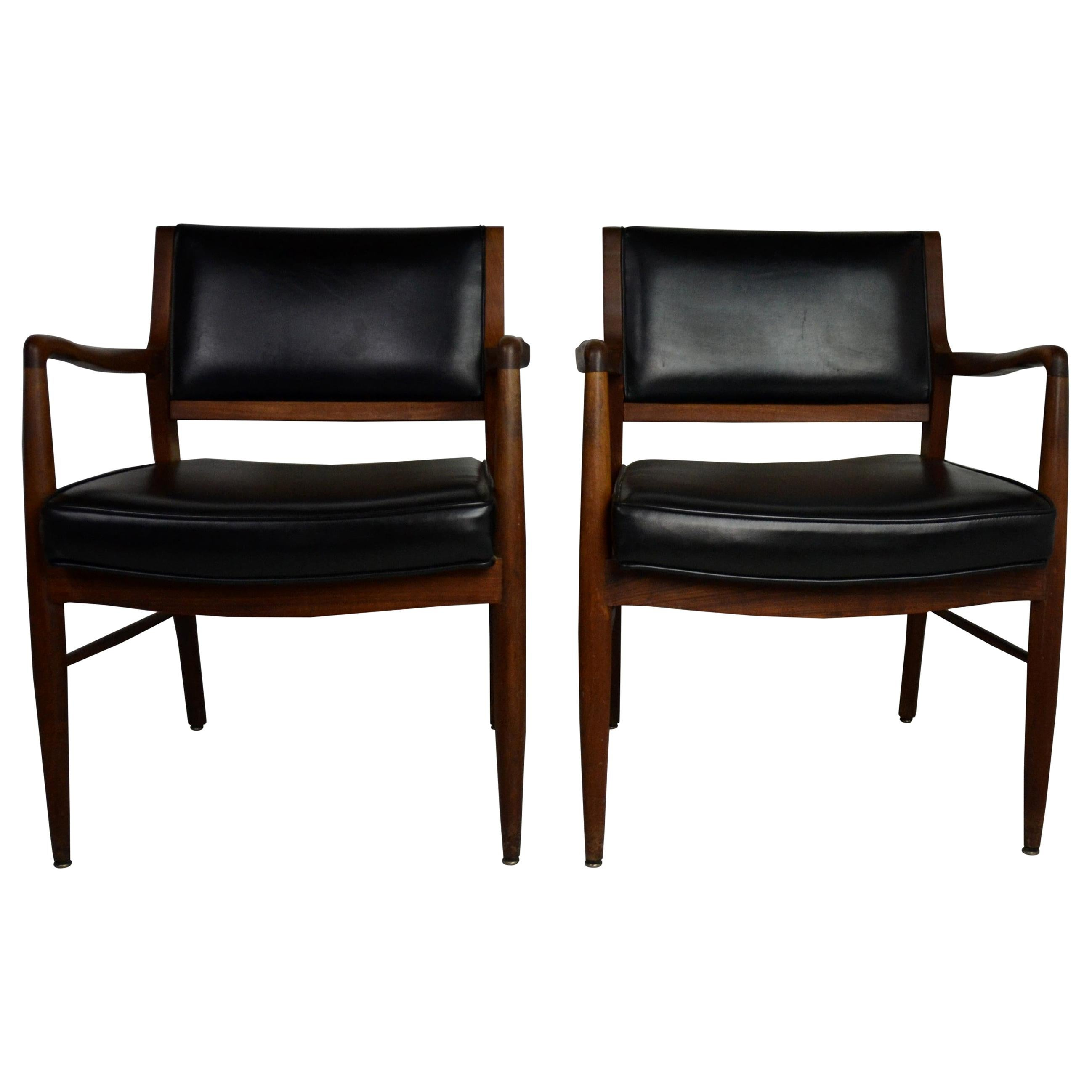 Midcentury Armchair Faux-Black Leather Seat Covers Set of 2
