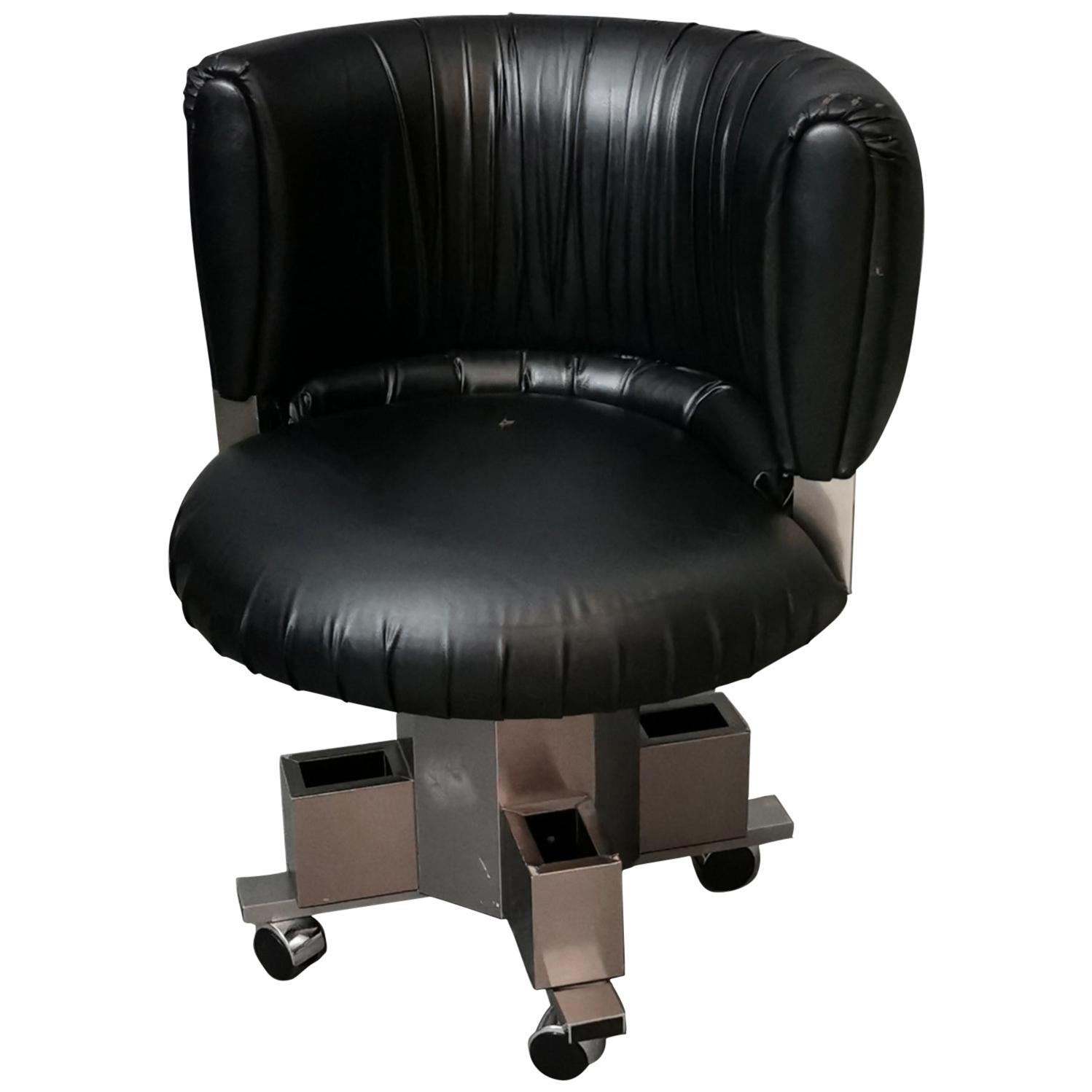 Mid Century Curved Armchair Black Leather in the Style of Willy Rizzo 1970s