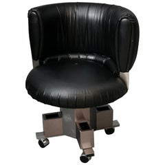 Midcentury Armchair in Black Leather in the Style of Willy Rizzo, Italy, 1970s