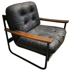 Midcentury Armchair in Curved Wood Black Leather and Metal Italian Design, 1960s