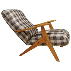 Midcentury Armchair in Fabric and Wood, Italian Design, 1960s