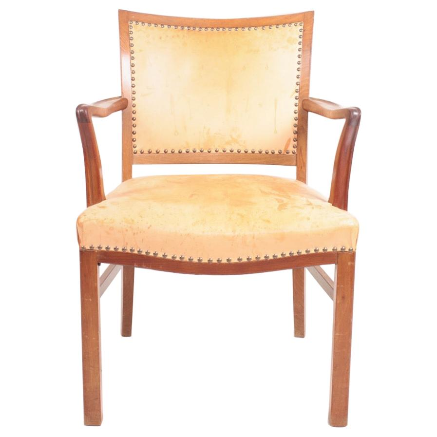 Midcentury Armchair in Patinated Leather, Danish Design, 1950s