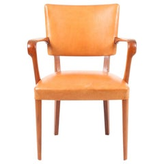 Midcentury Armchair in Walnut and Patinated Leather, Made in Denmark