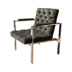 Mid Century Chrome Armchair in Gray circa 1960s in the Style of Harvey Probber