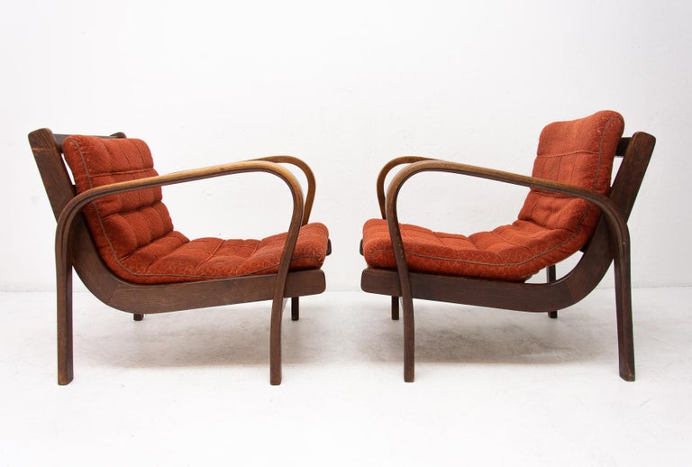 Mid-Century Modern Midcentury Armchairs by Kropacek and Kozelka for Interier Praha 1944, Set of Two For Sale