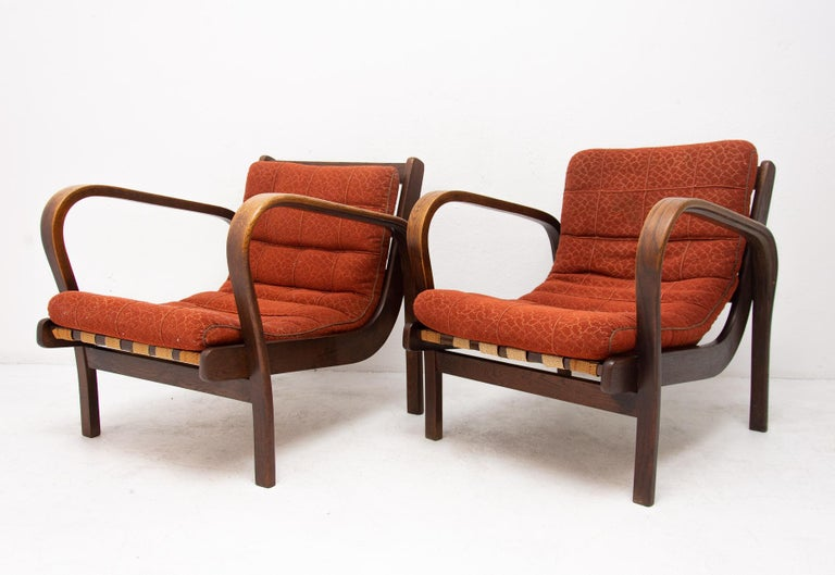 Czech Midcentury Armchairs by Kropacek and Kozelka for Interier Praha 1944, Set of Two For Sale