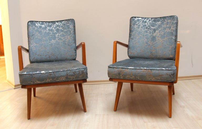 Mid-Century Modern Pair of Midcentury Armchairs, Cherrywood, Blue/Silver Fabric, Germany, 1950s For Sale