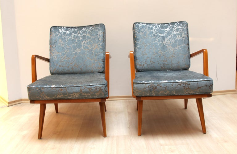 Polished Pair of Midcentury Armchairs, Cherrywood, Blue/Silver Fabric, Germany, 1950s For Sale