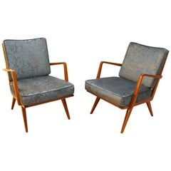 Pair of Mid-Century Armchairs, Cherry Wood, Blue/Silver Fabric, Germany, 1950s