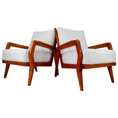 Midcentury Armchairs in Ash and Reupholstered in Boucle Fabric, France, 1950s