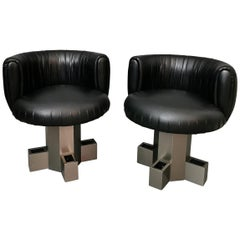 Midcentury Armchairs in Black Leather in the Style of Willy Rizzo, Italy, 1970s