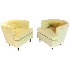 Midcentury Armchairs in Walnut and Chartreuse Velvet, in Harvey Probber Style