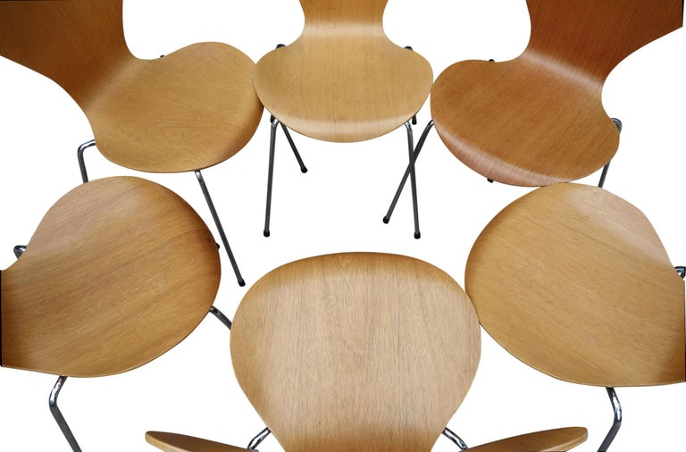 Steel Midcentury Arne Jacobsen Series 7 Chairs For Sale
