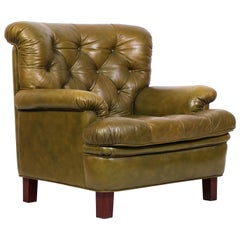 """Midcentury Arne Norell """"Jupiter"""" Chair in Green Leather"""