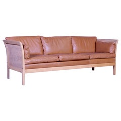 Midcentury Arne Norell Rattan and Leather Sofa