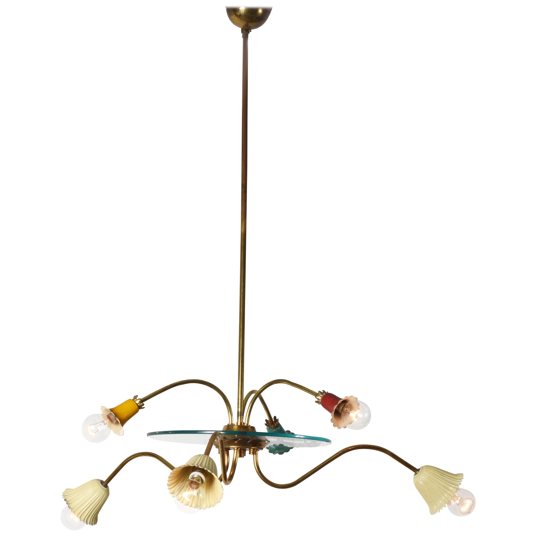 Midcentury Arredoluce Colored Enameled Brass Italian Chandelier, 1950s