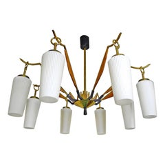Midcentury Stilnovo Style Teak and Opaline Eight Arm Spider Chandelier