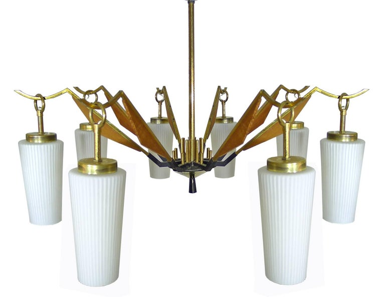 Large Vintage Mid Century Modern Arredoluce or Stilnovo Brass and Teak Wood Spider Chandelier with Eight Hanging Arms Glass Shades in the Danish Style  . Age Patina. Measures: Diameter:30 in/ 76 cm Height: 40 in / 100 cm Weight 11 lb. (5