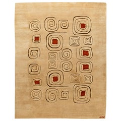 Midcentury Art Deco Beige and Red Bauhaus 'Churos' Wool Rug Signed by Olga Fisch