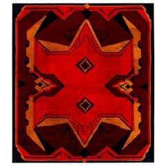 Midcentury Art Deco Black, Brown, Gold and Orange Wool Rug