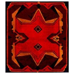 Midcentury Art Deco Black, Brown, Gold and Orange Wool Rug