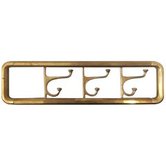 Midcentury / Art Deco Brass Foldable Wall Coat Rack, 1940s