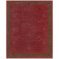 Midcentury Art Deco Chinese Handmade Rug in Blue, Brown and Pink