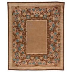 Midcentury Art Deco Chinese Rug in Brown and Blue