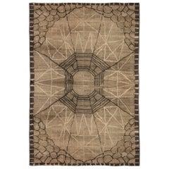 Midcentury Art Deco Dark Brown Handwoven Wool Rug