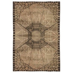 Midcentury Art Deco Dark Brown Handwoven Wool Rug