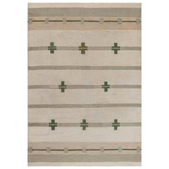 Midcentury Art Deco Handmade Wool Rug in Beige and Green