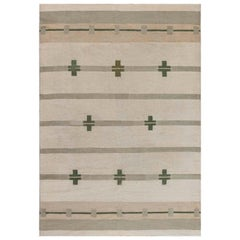 Midcentury Art Deco Handmade Wool Rug in Beige and Green