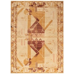 Midcentury Art Deco Handmade Wool Rug in Beige, Yellow, Red and Gold