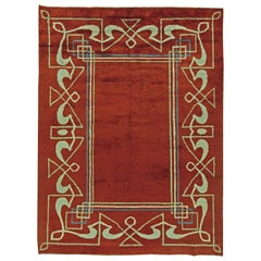 Midcentury Art Deco Handmade Wool Rug in Deep Maroon, White and Blue
