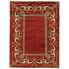 High-quality Art Deco Red, Brown Handmade Wool Rug