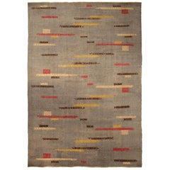 Midcentury Art Deco Handmade Wool Rug in Gray, Red, Yellow and Brown