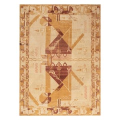 Midcentury Art Deco Handmade Wool Rug in Shades of Yellow, Red and Gold