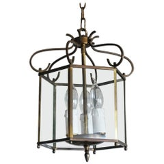Midcentury Art Deco Hexagonal Brass and Clear Glass Three-Light Lantern
