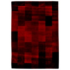 Midcentury Art Deco Raspberry Red Handmade Wool Rug