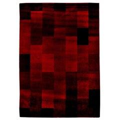 Midcentury Art Deco Raspberry Red Handmade Wool Rug