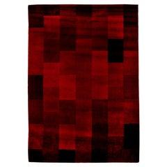 Midcentury Art Deco Raspberry Red Handwoven Wool Rug