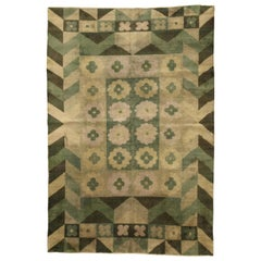 Midcentury Art Deco Style Green, Yellow and Brown Handmade Wool Carpet