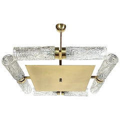 Kaiser & Co. Midcentury Art Deco Style Square Brass Chandelier, 1950s, Germany