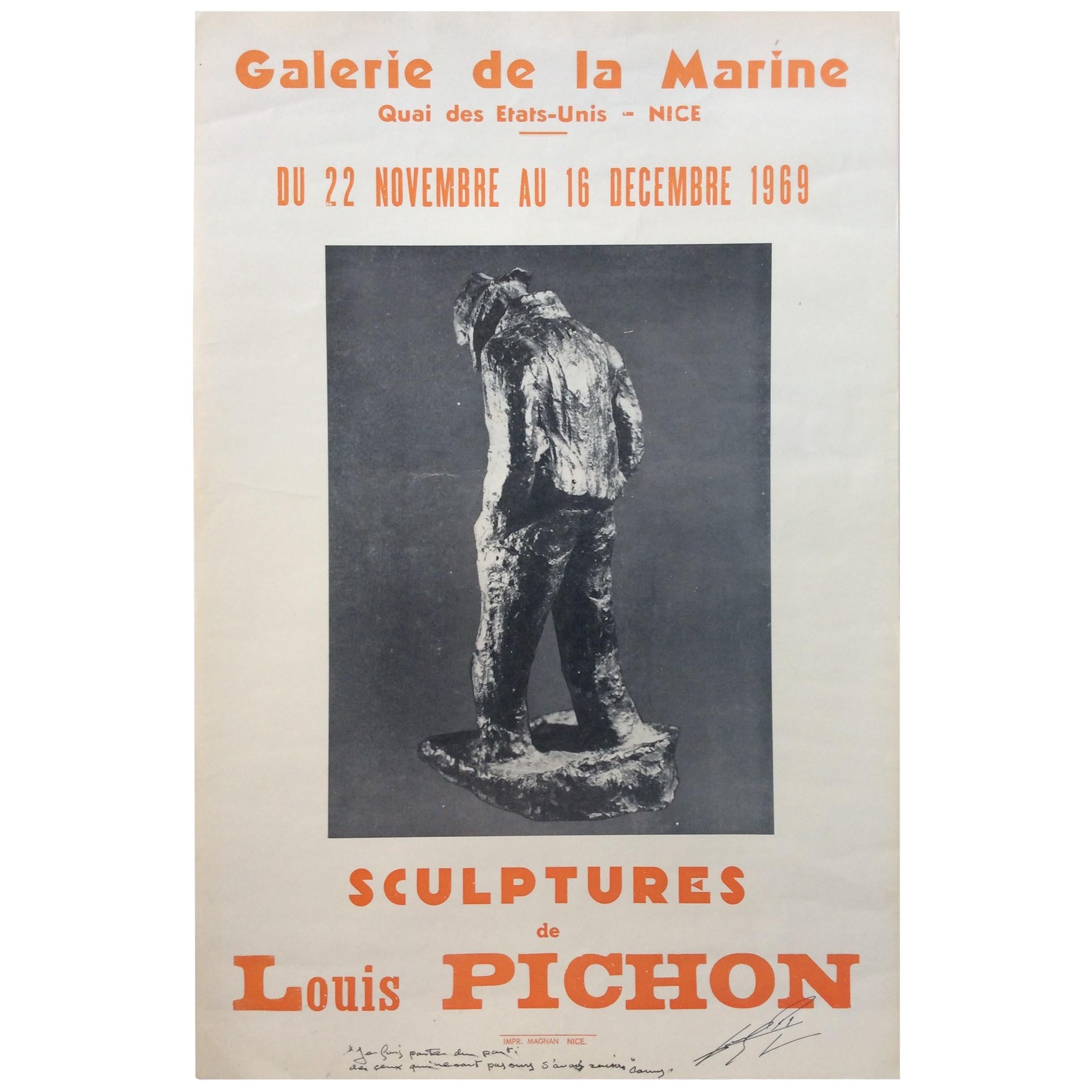 Midcentury Art Exhibition Poster Signed by the Artist Louis Pichon, 1969