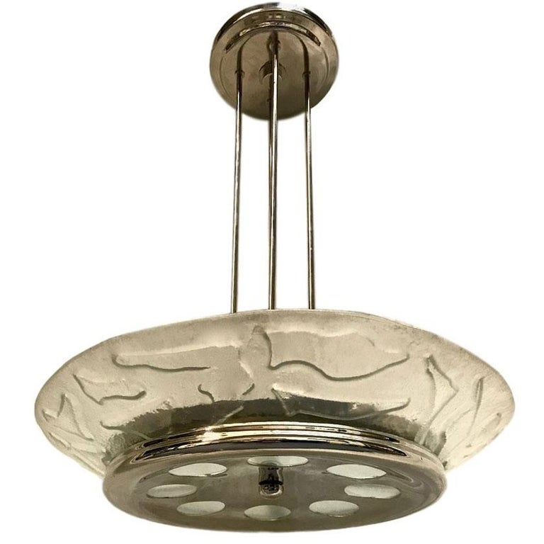 Midcentury Art Glass Light Fixture For Sale