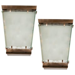 Midcentury Art Moderne Patinated Bronze and Frosted Glass Lantern Sconces, Pair