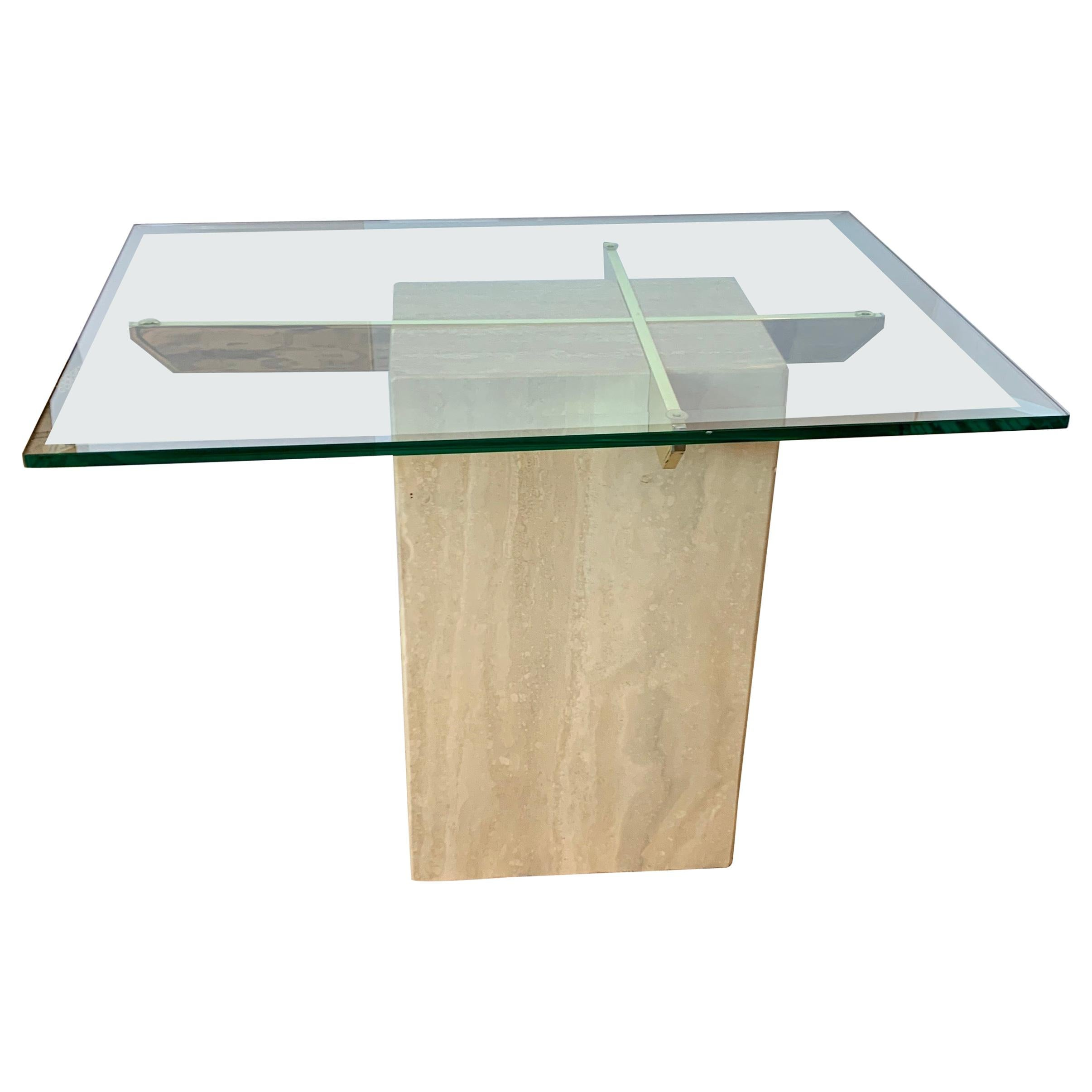 Midcentury Artedi Travertine Glass and Brass Side Table, Made in Italy