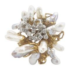 Midcentury Arthur King Biwa Pearl and Diamond Brooch / Pendant